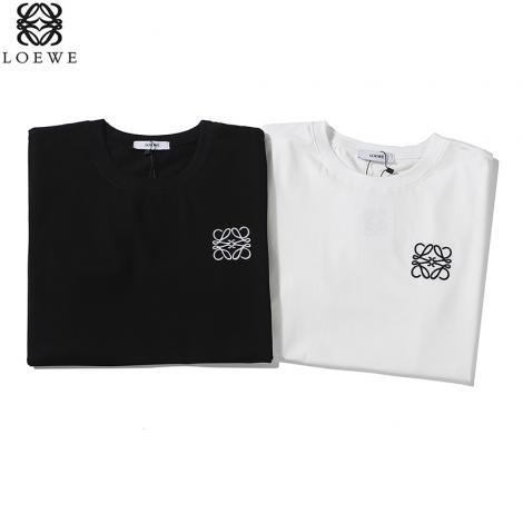 ロエベ LOEWE メンズ/レディース 2色 クルーネック Tシャツ 綿 カップル 人気ブランド通販