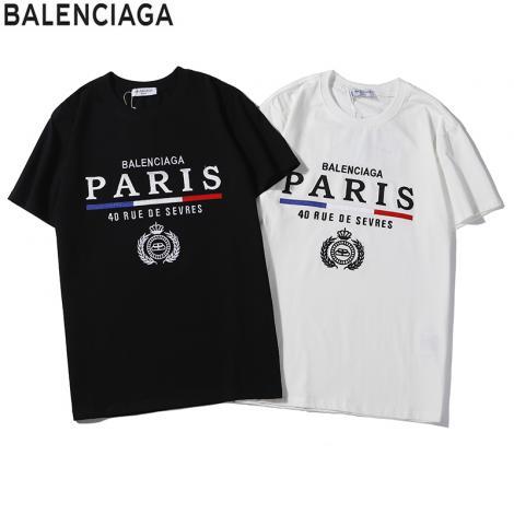 バレンシアガ BALENCIAGA メンズ/レディース カップル 2色 クルーネック Tシャツ 綿  定番人気ブランド通販