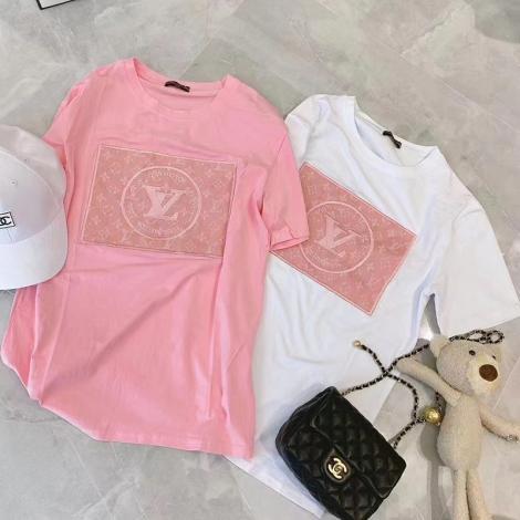 ルイヴィトン LOUIS VUITTON レディース 2色 クルーネック Tシャツ 綿 高評価ブランドコピー激安安全後払い販売専門店