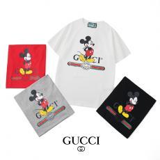 グッチ GUCCI メンズ/レディース 4色 綿 クルーネック Tシャツ カップル おすすめレプリカ激安代引き対応