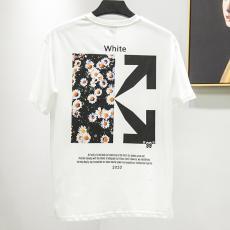 ブランド国内オフホワイト Off White メンズ/レディース カップル 2色 クルーネック Tシャツ 綿 2020年春夏新作コピーブランド代引き