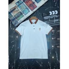 Burberry バーバリー 春夏新作高品質 アイスシルク綿半袖折り襟プリント2色激安Tシャツ代引き工場直売店
